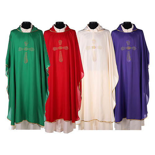Set 4 chasubles polyester 4 couleurs IHS croix rayons PROMO 1