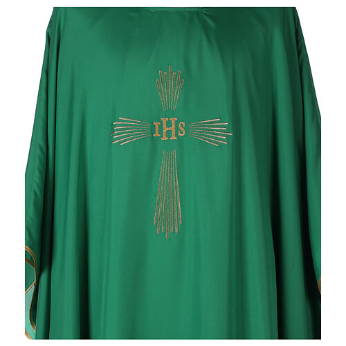 Set 4 chasubles polyester 4 couleurs IHS croix rayons PROMO 2