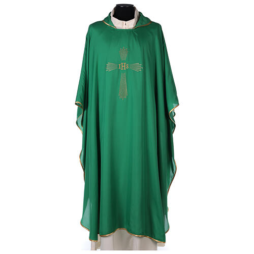 Set 4 chasubles polyester 4 couleurs IHS croix rayons PROMO 3