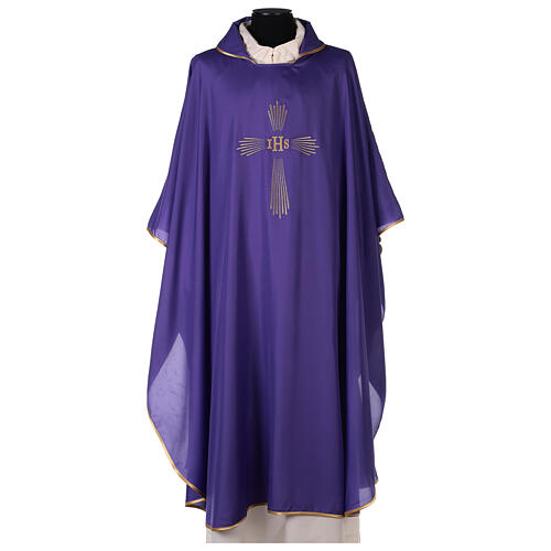 Set 4 chasubles polyester 4 couleurs IHS croix rayons PROMO 6