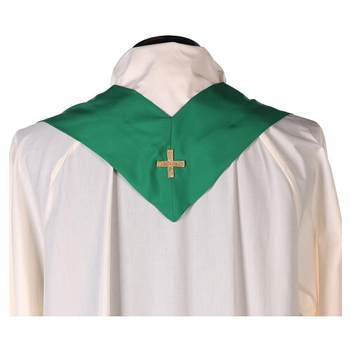 Set 4 chasubles polyester 4 couleurs IHS croix rayons PROMO 11