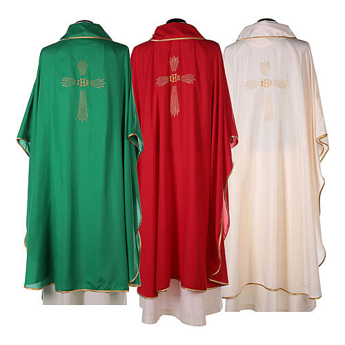 Set 4 chasubles polyester 4 couleurs IHS croix rayons PROMO 14