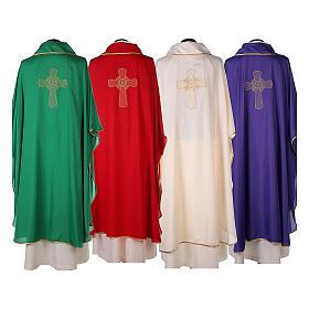 Set 4 casullas litúrgicas poliéster 4 colores bordado cruz decorada A BAJO COSTE s14