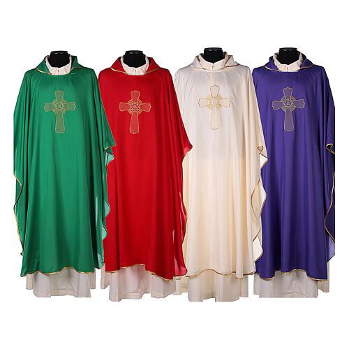 Set 4 casullas litúrgicas poliéster 4 colores bordado cruz decorada A BAJO COSTE 1