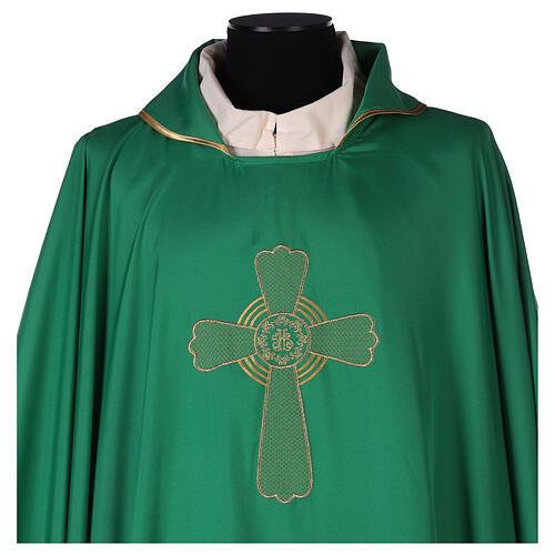 Set 4 casullas litúrgicas poliéster 4 colores bordado cruz decorada A BAJO COSTE 2