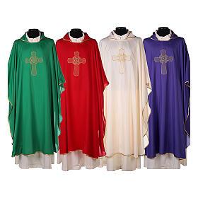 Set 4 chasubles liturgiques polyester 4 couleurs croix brodée PROMO s1