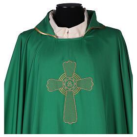 Set 4 chasubles liturgiques polyester 4 couleurs croix brodée PROMO s2