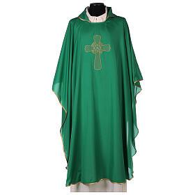 Set 4 chasubles liturgiques polyester 4 couleurs croix brodée PROMO s3
