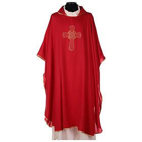 Set 4 chasubles liturgiques polyester 4 couleurs croix brodée PROMO s4