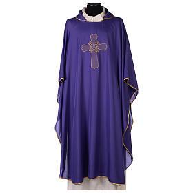 Set 4 chasubles liturgiques polyester 4 couleurs croix brodée PROMO s6