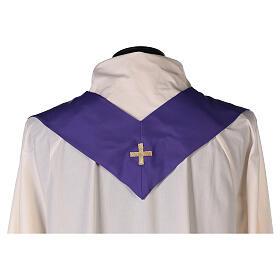 Set 4 chasubles liturgiques polyester 4 couleurs croix brodée PROMO s13