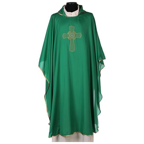 Set 4 chasubles liturgiques polyester 4 couleurs croix brodée PROMO 3