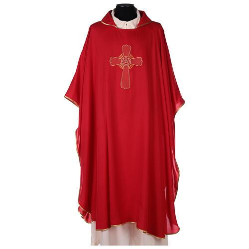 Set 4 chasubles liturgiques polyester 4 couleurs croix brodée PROMO 4