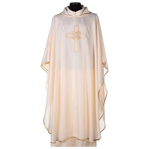 Set 4 chasubles liturgiques polyester 4 couleurs croix brodée PROMO 5