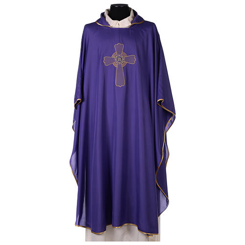 Set 4 chasubles liturgiques polyester 4 couleurs croix brodée PROMO 6