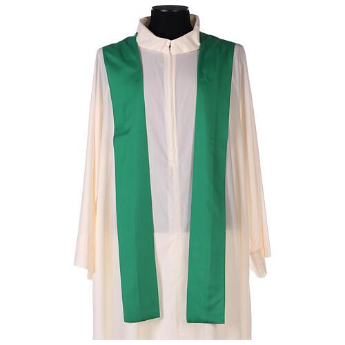 Set 4 chasubles liturgiques polyester 4 couleurs croix brodée PROMO 7