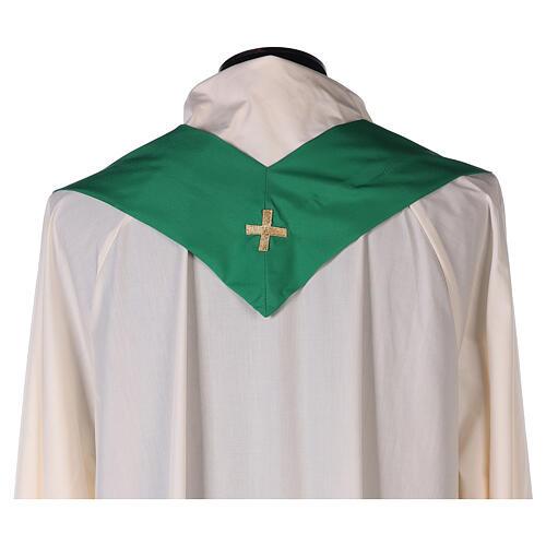 Set 4 chasubles liturgiques polyester 4 couleurs croix brodée PROMO 11