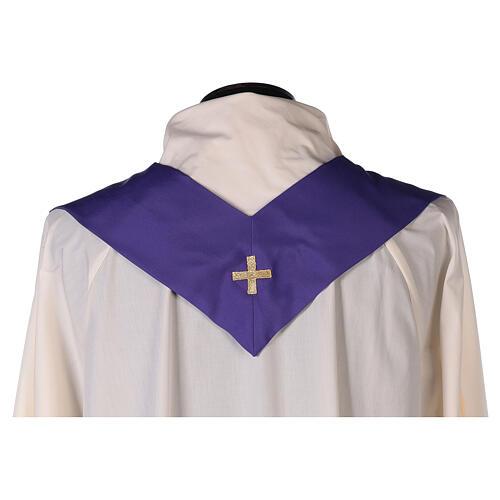Set 4 chasubles liturgiques polyester 4 couleurs croix brodée PROMO 13