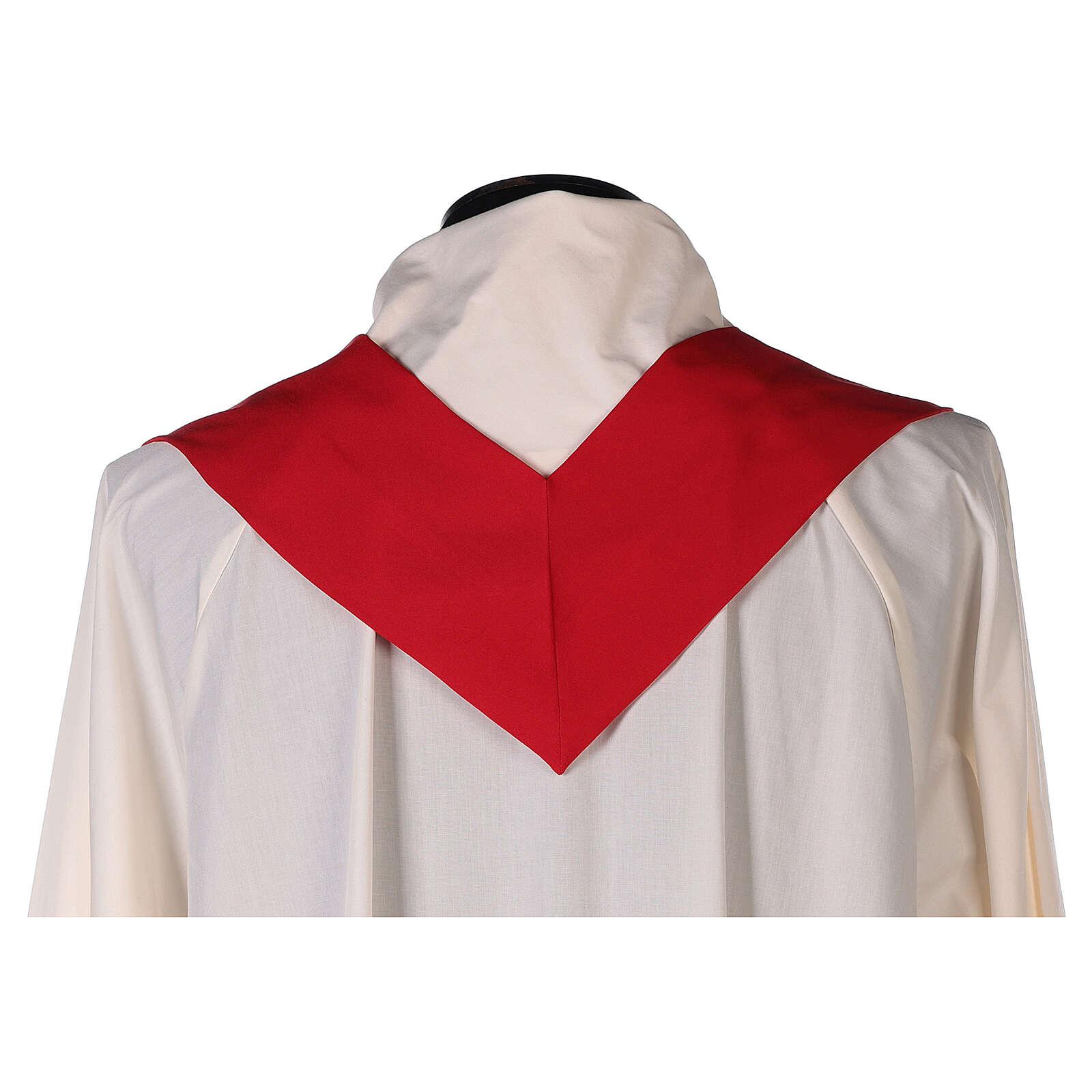 Set 4 casule liturgiche poliestere 4 colori ricamo croce ornata SOTTOCOSTO 4
