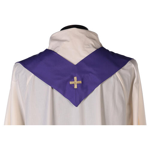 Conjunto 4 casulas litúrgicas poliéter 4 cores bordado cruz decorada SUPER BARATO 13