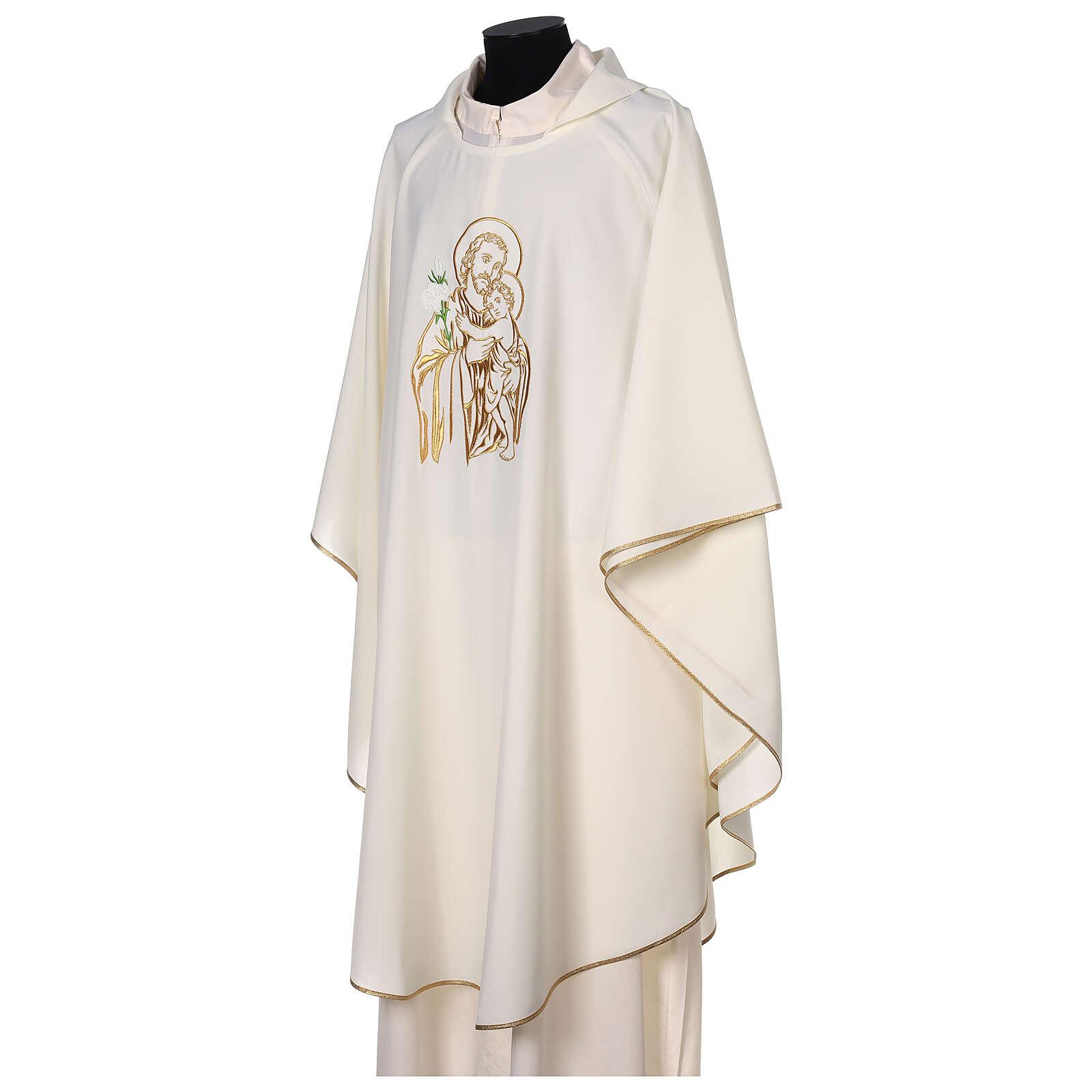 Gesticktes Messgewand mit Sankt Joseph aus 100% Polyester in liturgischen Farben 4
