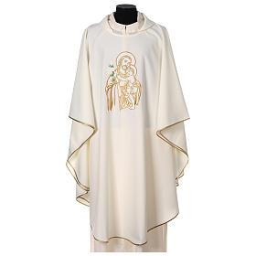 Gesticktes Messgewand mit Sankt Joseph aus 100% Polyester in liturgischen Farben s1