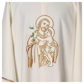 Gesticktes Messgewand mit Sankt Joseph aus 100% Polyester in liturgischen Farben s2