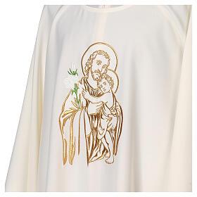 Gesticktes Messgewand mit Sankt Joseph aus 100% Polyester in liturgischen Farben s4