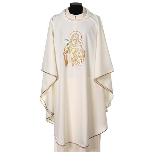 Gesticktes Messgewand mit Sankt Joseph aus 100% Polyester in liturgischen Farben 1