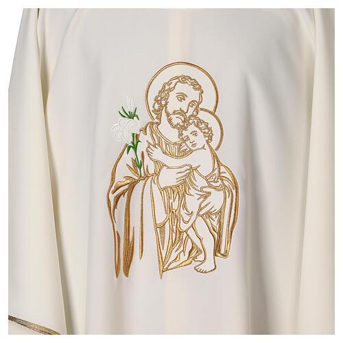 Gesticktes Messgewand mit Sankt Joseph aus 100% Polyester in liturgischen Farben 2