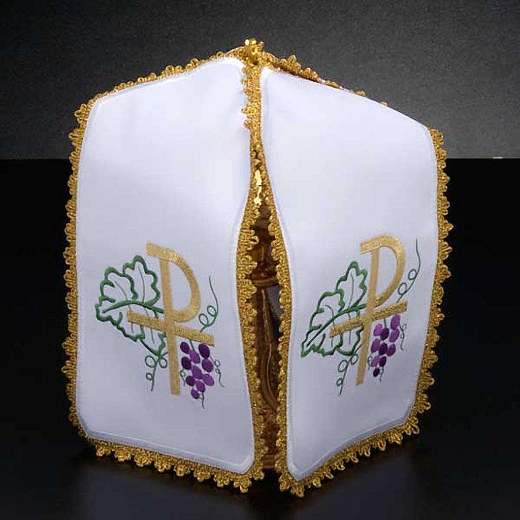 Ciborium veil, cross shaped Chi-Rho symbol 4