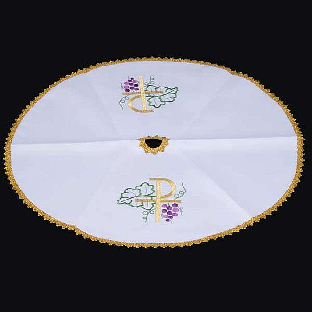 Voile de ciboire blanche ronde, Chi-Rho 4