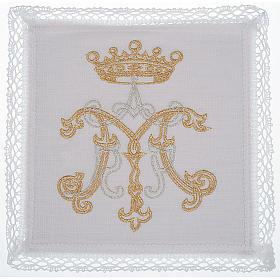 Mass linen set 4 pcs. Marian symbol gold silver s1