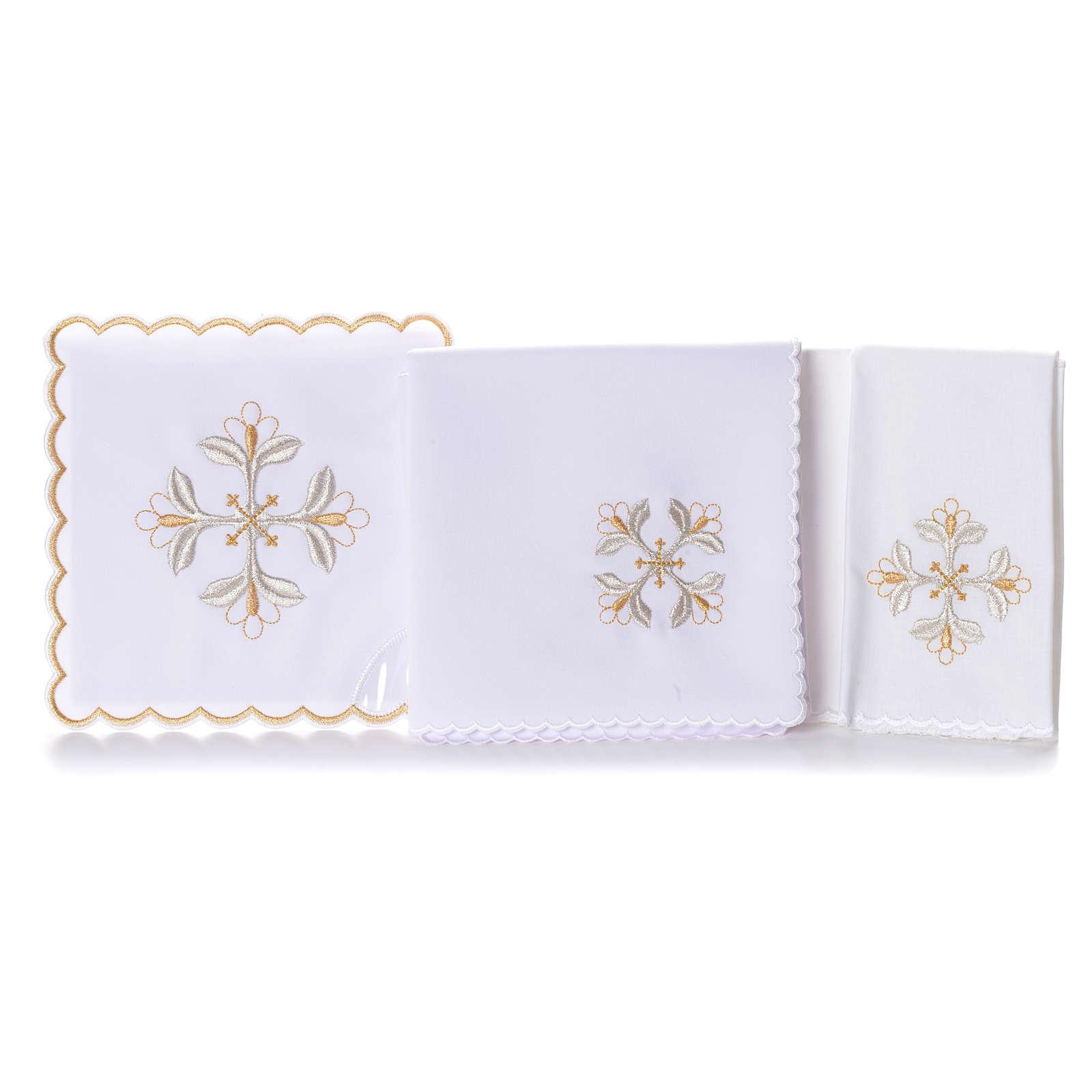 Mass linen set 4 pcs. floral cross gold silver 4