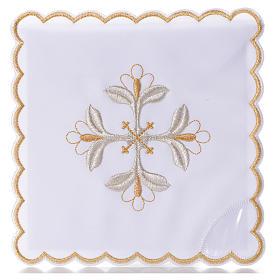 Mass linen set 4 pcs. floral cross gold silver s1