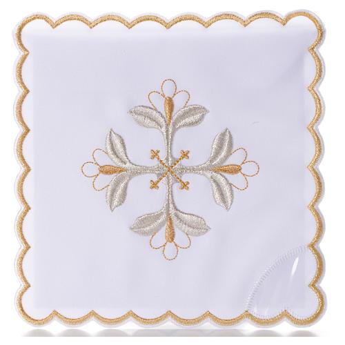 Mass linen set 4 pcs. floral cross gold silver 1