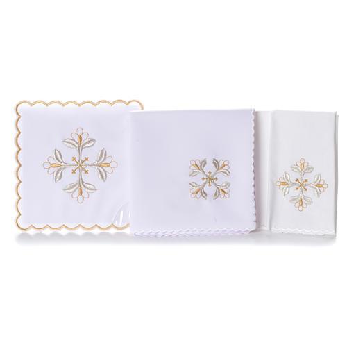 Mass linen set 4 pcs. floral cross gold silver 2