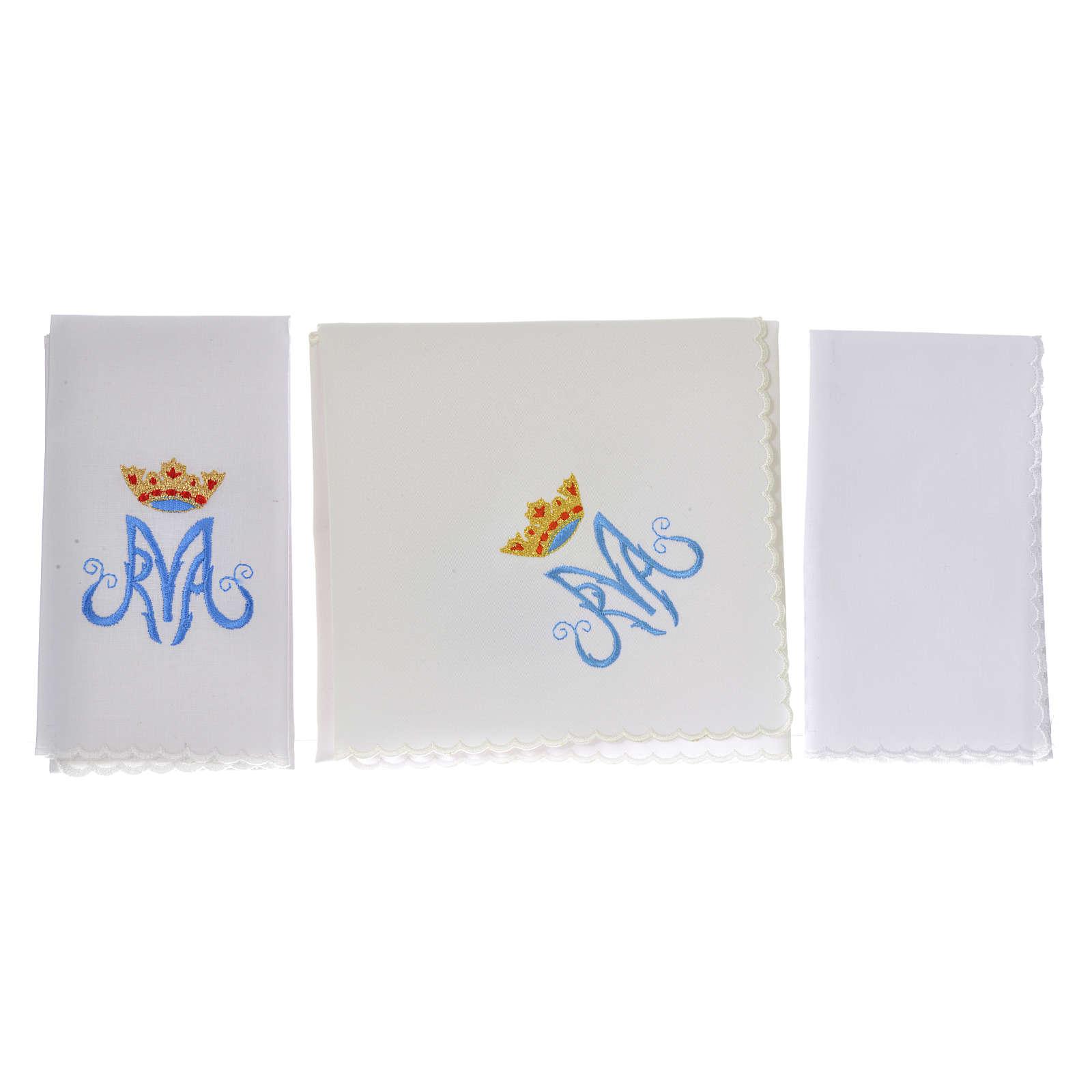 Servicio de altar bordado Mariano azul con encaje 4