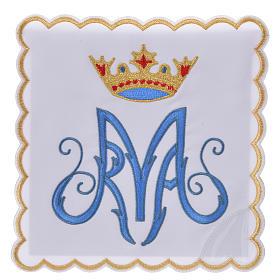 Servicio de altar bordado Mariano azul con encaje s1