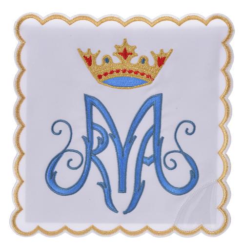 Servicio de altar bordado Mariano azul con encaje 1