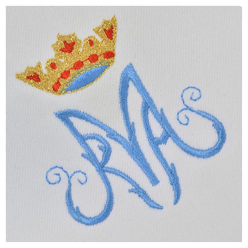 Servicio de altar bordado Mariano azul con encaje 3