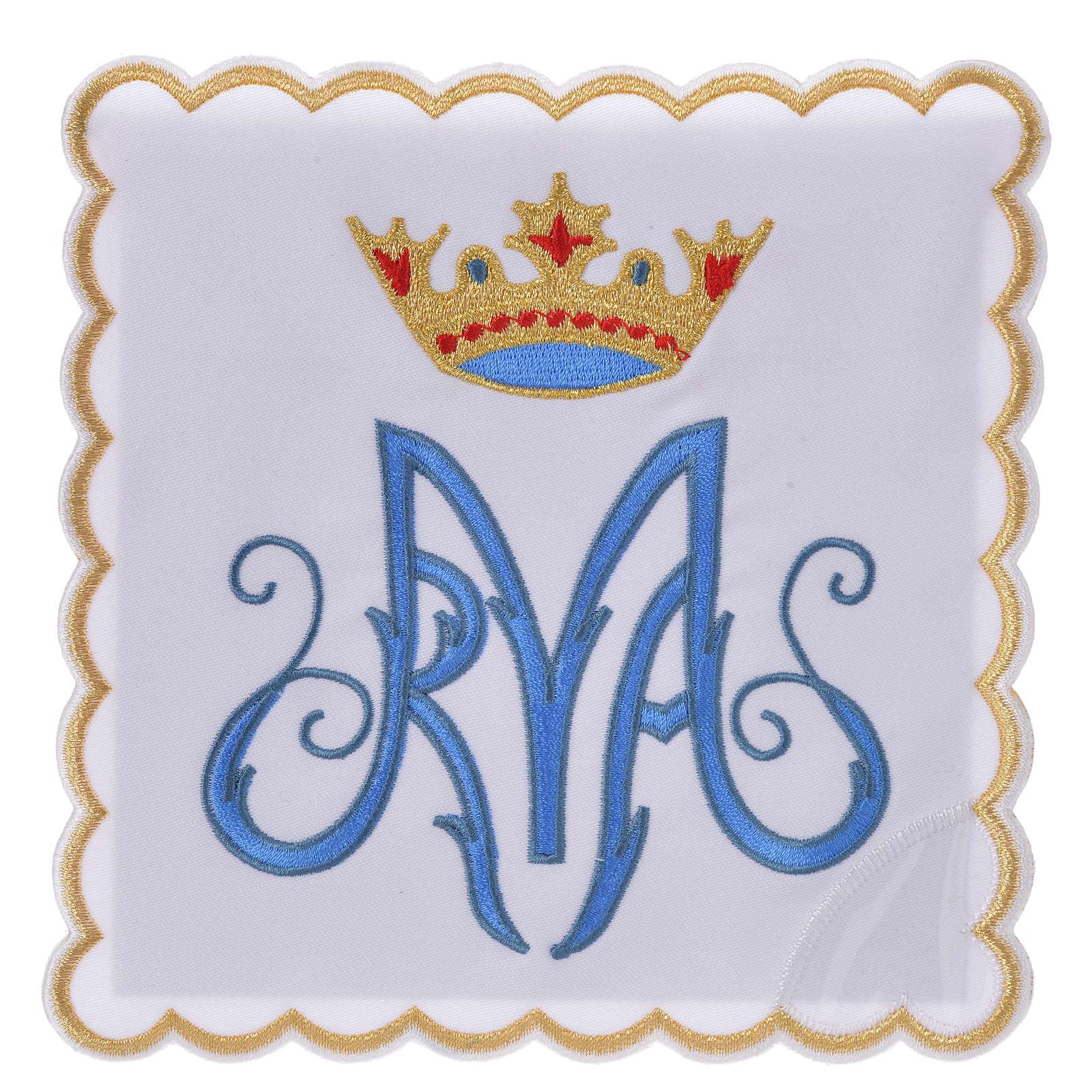 Servizio da messa ricamato simbolo mariano M 4