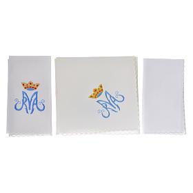 Conjunto de altar bordado símbolo mariano M s2