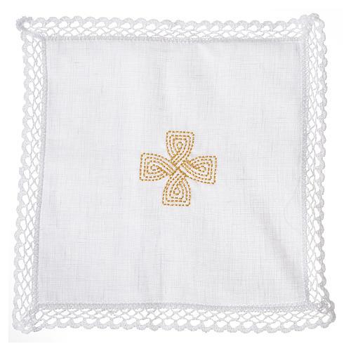 Mass linens with golden cross, 100% linen 2