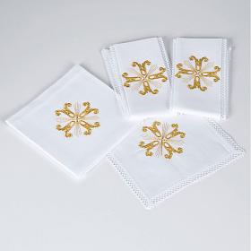 Linge d'autel croix dorée et rayons s1