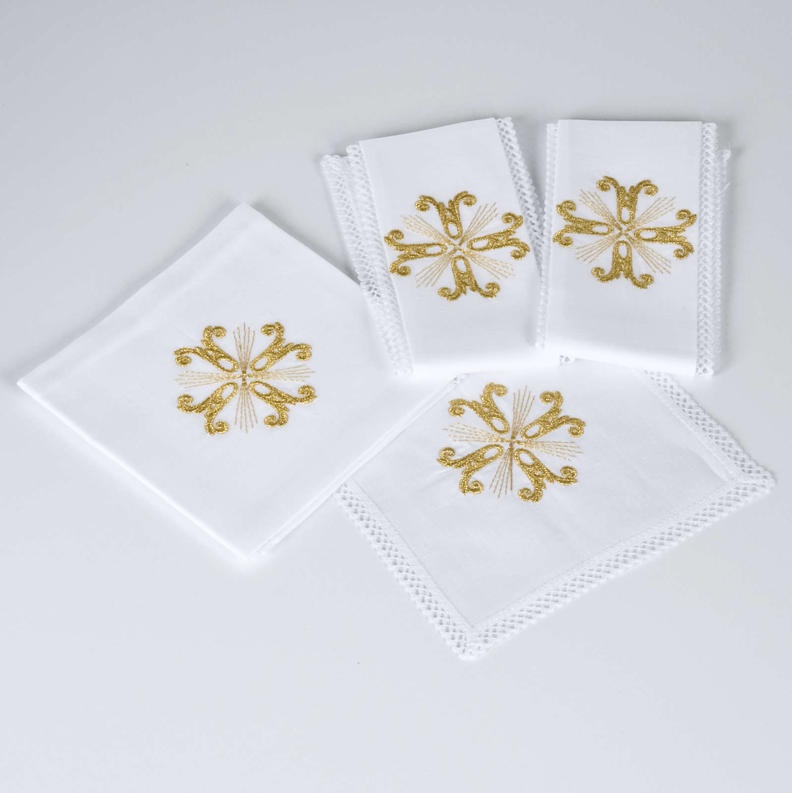 Altar linen set with golden cross, 100% linen 4