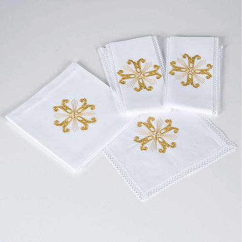 Altar linen set with golden cross, 100% linen 1