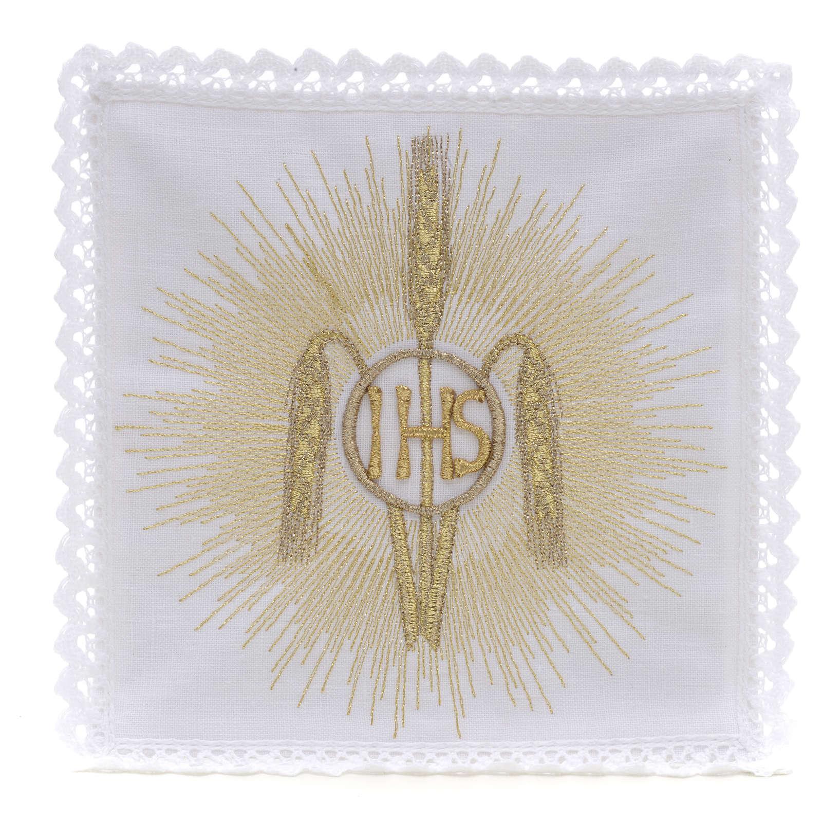 Linge d'autel IHS épis rayons 100% lin 4