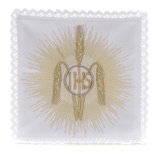 Linge d'autel IHS épis rayons 100% lin 1