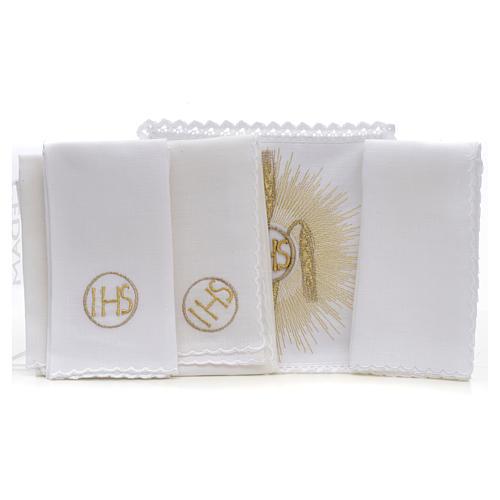 Linge d'autel IHS épis rayons 100% lin 2